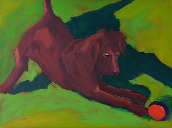 Playful dog painted by Paul William | Painting | Art