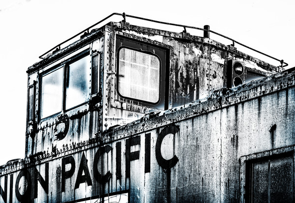 Black and White Union Pacific Rusty Old Abandoned Caboose  fleblanc