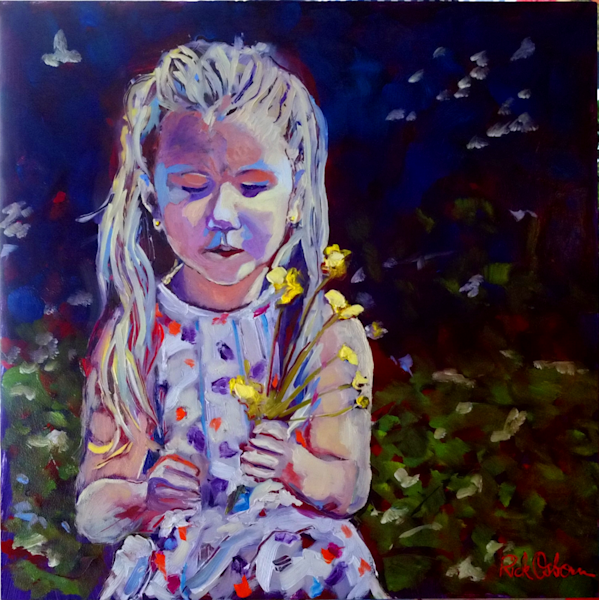 Oil Painting of Little Girl with Buttercups