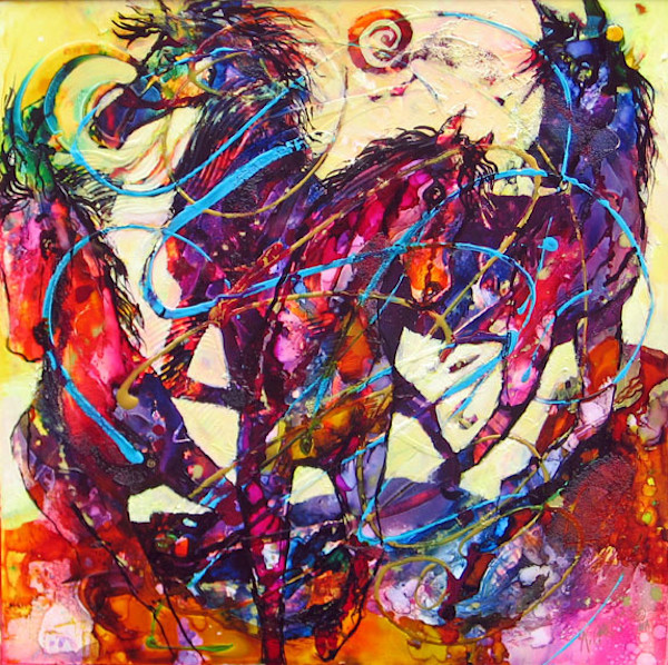 Brightly colored Abstract horse painting using alcohol inks/acrylics on framed wood panel