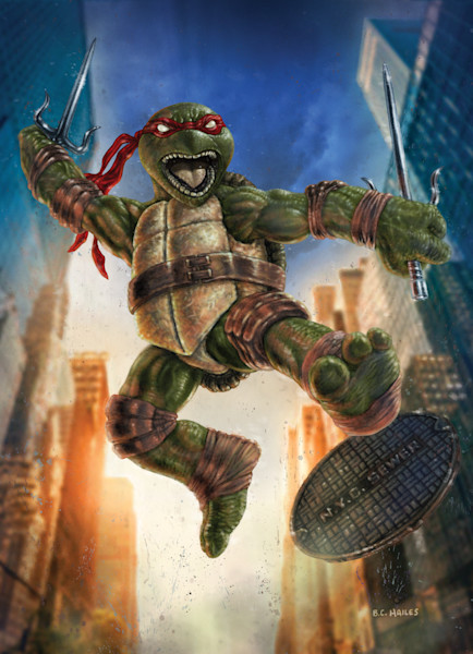 Raphael teenage mutant ninja turtle comic art print