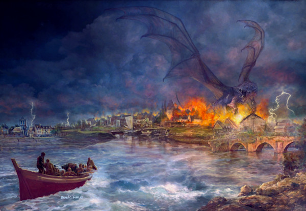 The Shadow Above the Flames fantasy art print