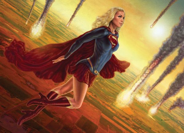 Supergirl superhero comic art print