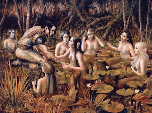 Tyris & the Water Nymphs fantasy art print
