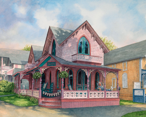 Watercolor of the Oak Bluffs gingerbread cottages by David Dunthorne