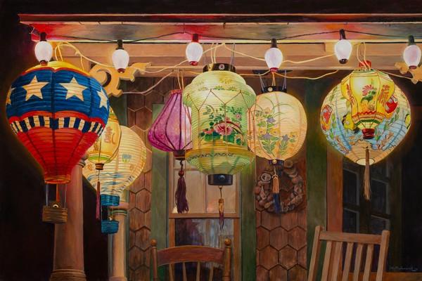 Painting of the Japanese Lanterns at Illumination Night on Martha's Vineyard
