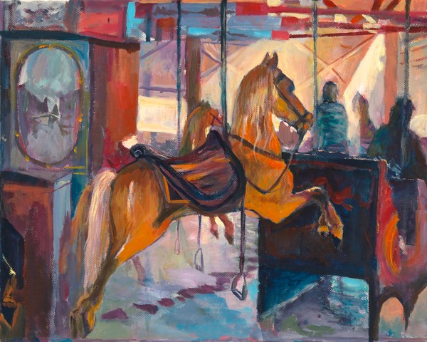 Oil painting of the famous Flying Horses Carousel in Oak Bluffs, Martha's Vineyard