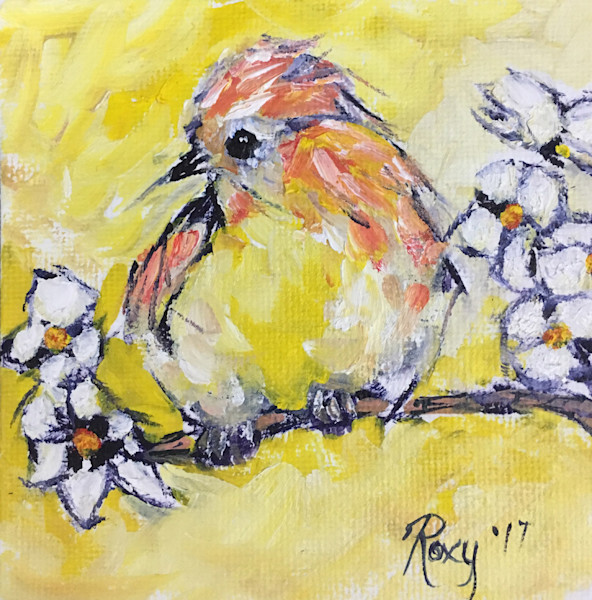 Miniature Yellow Bird on a Branch with White Flowers original oil painting.
