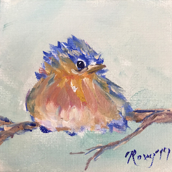 Miniature Bluebird Chick original Oil Painting