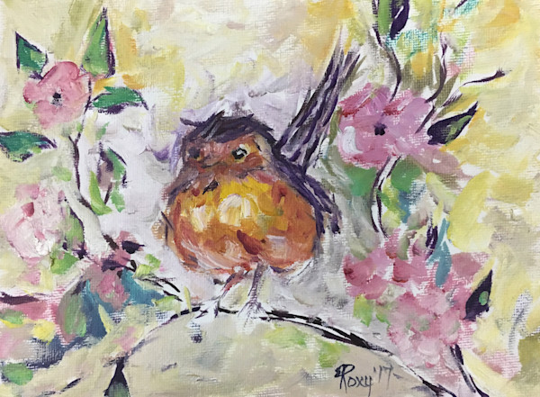 Impressionistic Fat little Robin Chick in Pink Cherry Blossoms original Oil Painting