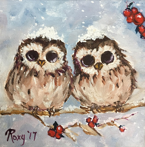Miniature Snowy Owl Chicks in a Holly Berry Tree original Oil Painting