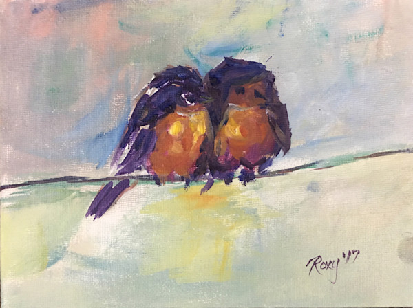 Abstract Robins on a Wire original oil painting.
