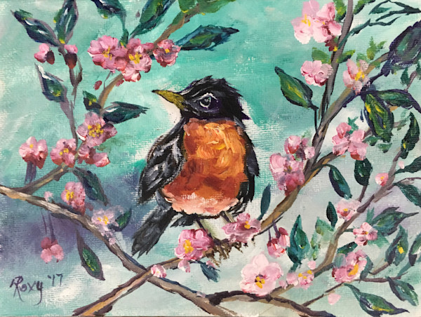 Red Breasted Robin in a Cherry Tree blossoming original Oil Painting.