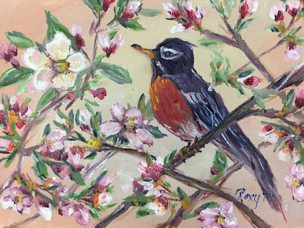 Red Robin in a Budding Cherry Tree original Oil Painting