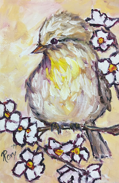Western Kingbird Chick on a Branch original Oil Painting