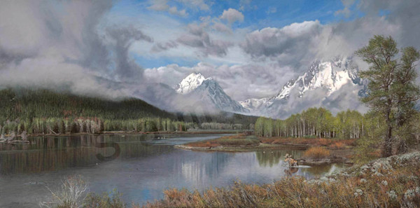 The Oxbow Bend on Fine Art Paper and Canvas for Sale