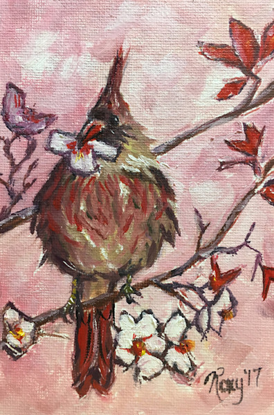 Cardinal with a Cherry Blossom in its Beak original oil painting.