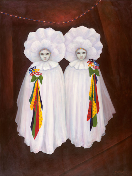 Twins with Masks - Original