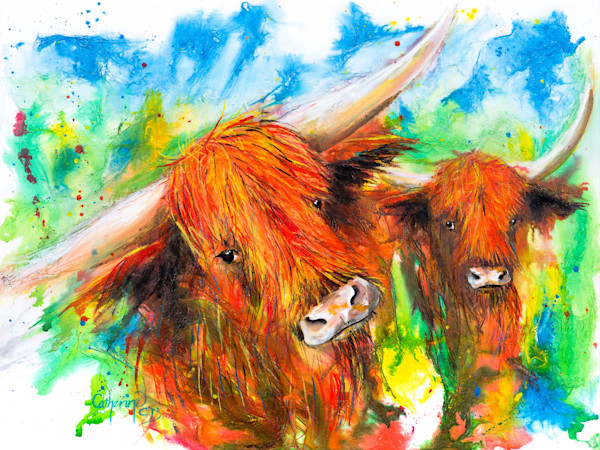 Ink Series - Highland Cows I