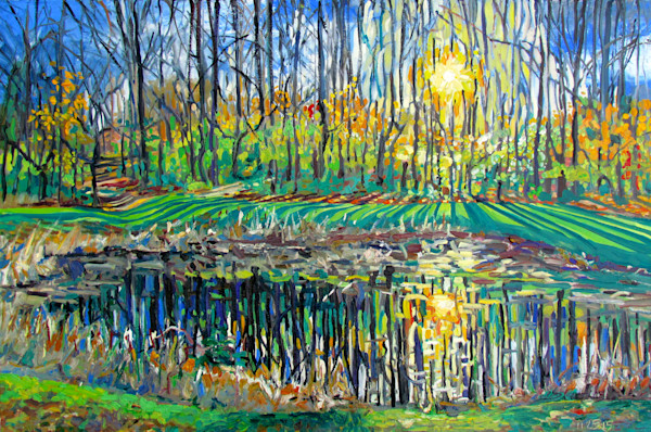Oakbourne Pond Painting by Wet Paint NYC Artist Michael Serafino