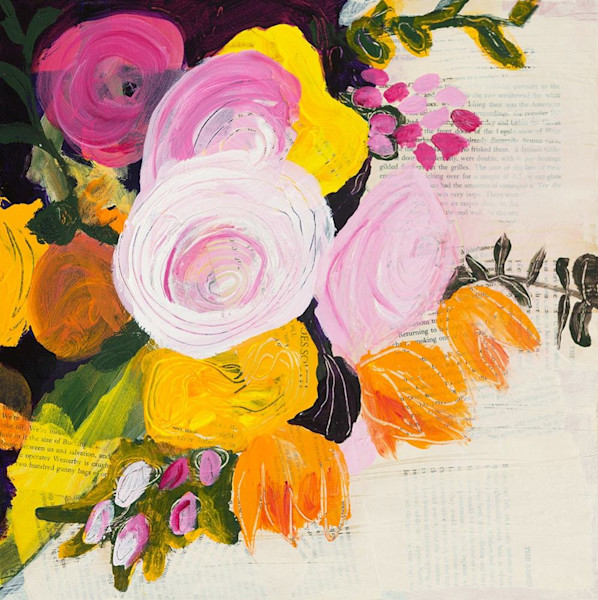 In Happy Thoughts, by Ruth-Anne Siegel, the artist adds collaged print, painting her brightly colored bouquet of flowers on top, all of which adds texture to the image.