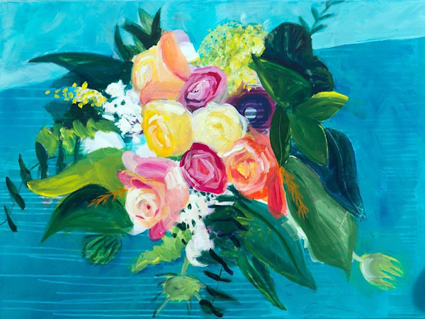 Gorgeous contrasting colors, blues, oranges, pinks and yellows make this image, an original painting by Ruth-Anne Siegel, a standout.