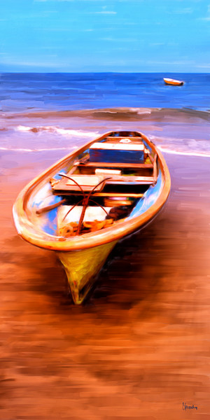 Boats, Mexico painting by Christina Stefani