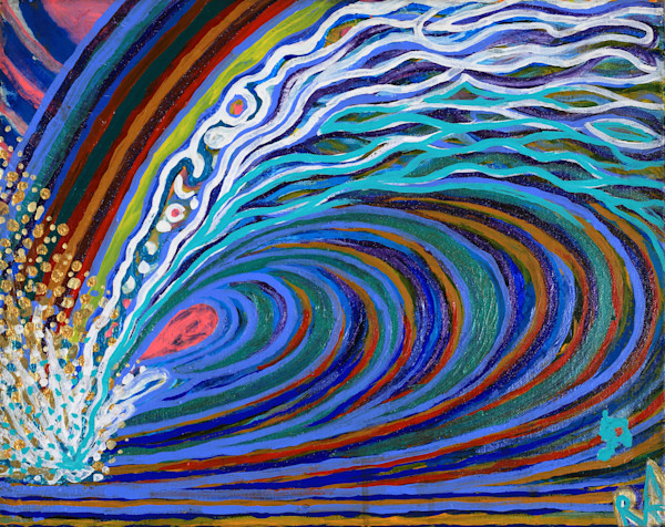 Lucky Rainbow Wave explodes gold medallion coins into the air while the light refractions pop from the metallics and acrylic bold colors