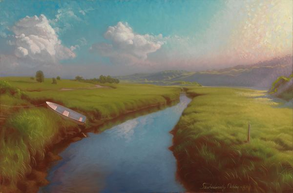 Painting of Menemsha Creek by Niklas Szuhodovsky.