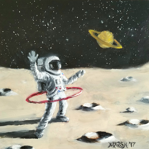 Astronaut on the moon doing hula hoop duet with Saturn art painting