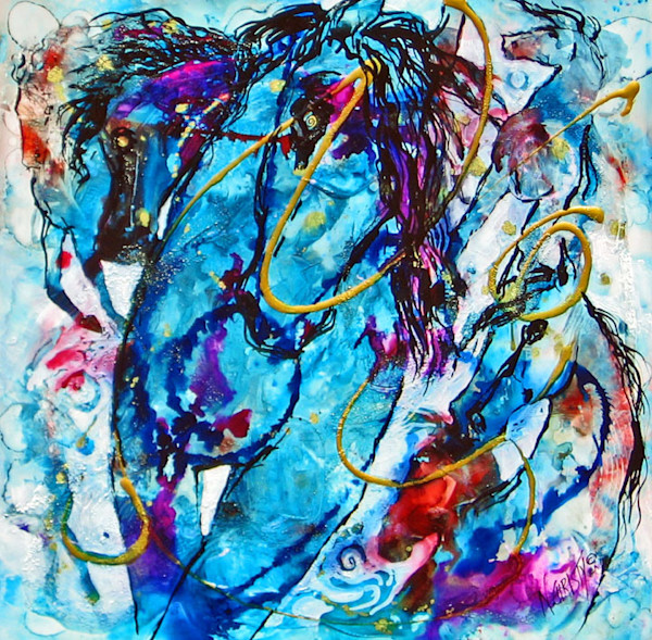 Original abstract horse painting in alcohol inks and acrylics on framed panel