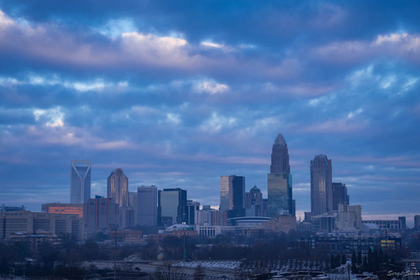 Winter Charlotte Skyline Photograph for Sale as Fine Art