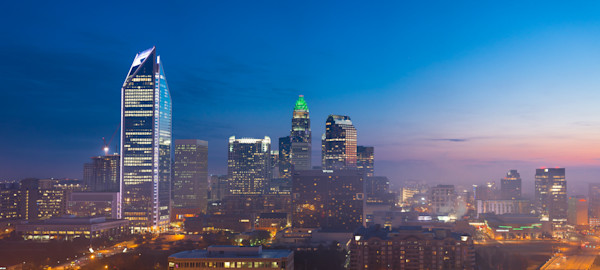 Panoramic Charlotte Skyline Photograph for Sale as Fine Art