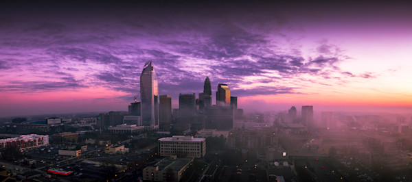 Colorful Morning Charlotte Skyline Photograph for Sale as Fine Art