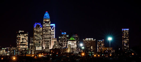 When Night Falls Over Charlotte Photograph for Sale as Fine Art