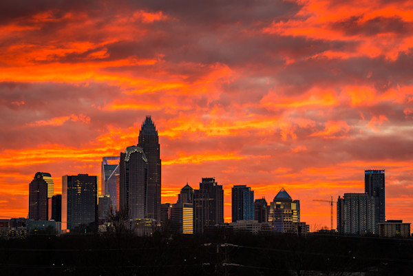 Dramatic Charlotte Skyline Photograph for Sale as Fine Art