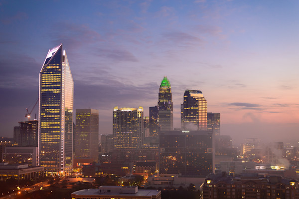 Morning Charlotte Skyline Photograph for Sale as Fine Art
