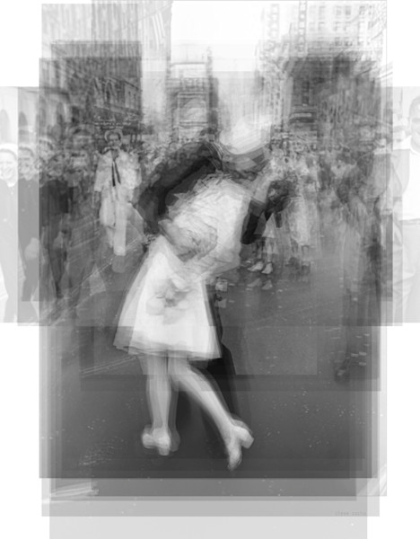 Overlay art – contemporary fine art prints of V-J Day in Times Square