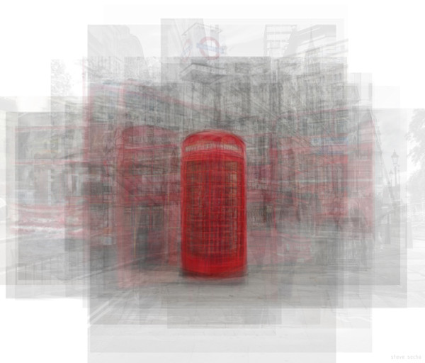 Overlay art – contemporary fine art prints of the London Phone Booth