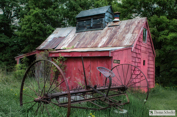 searching for a rural scenic art print featuring old distressed wood and a rusty hay rake?