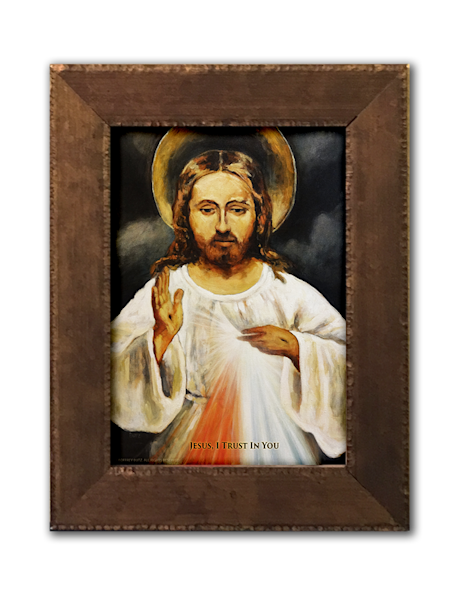 Framed Divine Mercy Print with Prayer