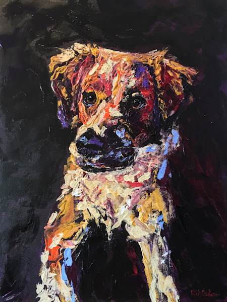 Colorful Mutt   Hand painted print of a Golden Retriever Yellow Lab Mix Dog