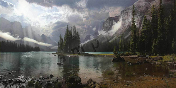 Spirit Island at Maligne Lake on Fine Art Paper and Canvas for Sale