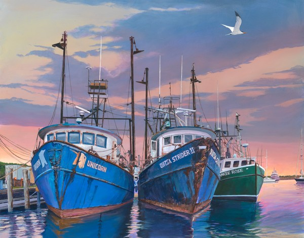Trawler Trio by Kip Richmond, painting of the famous Menemsha fishing trawlers.