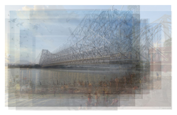 Overlay art – contemporary fine art prints of the Howrah Bridge