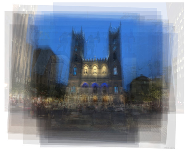 Overlay art – contemporary fine art prints of the Notre-Dame Basilica in Montreal