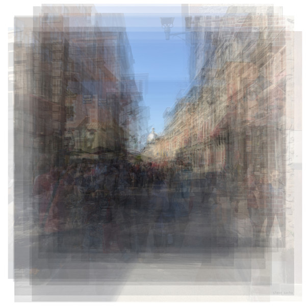 Overlay art – contemporary fine art prints of Rue St. Paul E Montreal streetscape