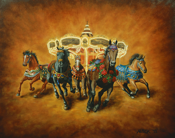 Horses escape from a carousel art