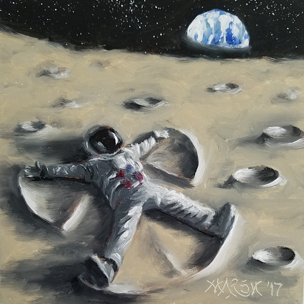 Astronaut making a snow angel but on the moon art, painting