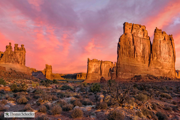 Looking for that perfect desert southwest scenic landscape to decorate your home with? This dramatic sunrise from Arches National Park may be the one